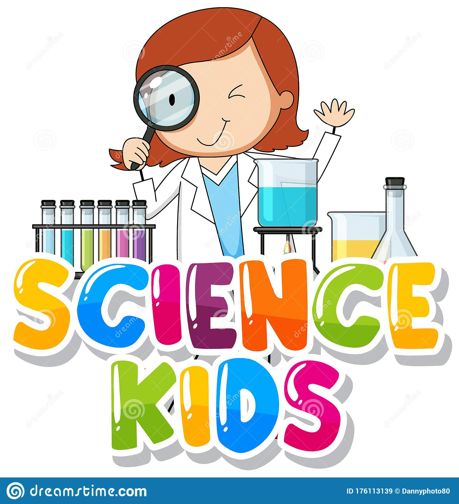 Font Design For Word Science Kids With Kid In The Lab ...