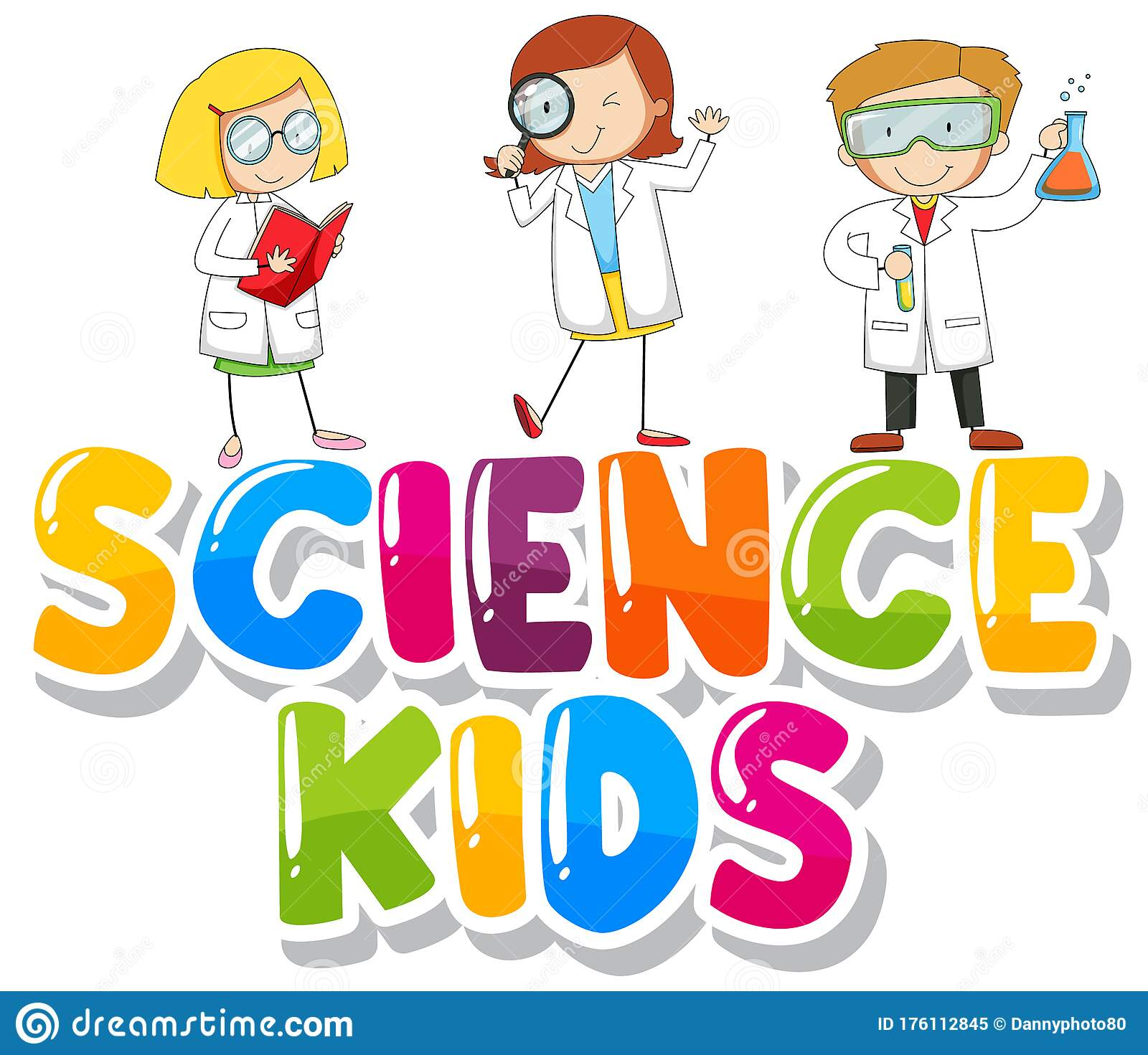 Font Design For Word Science Kids With Kids In Lab Gown ...