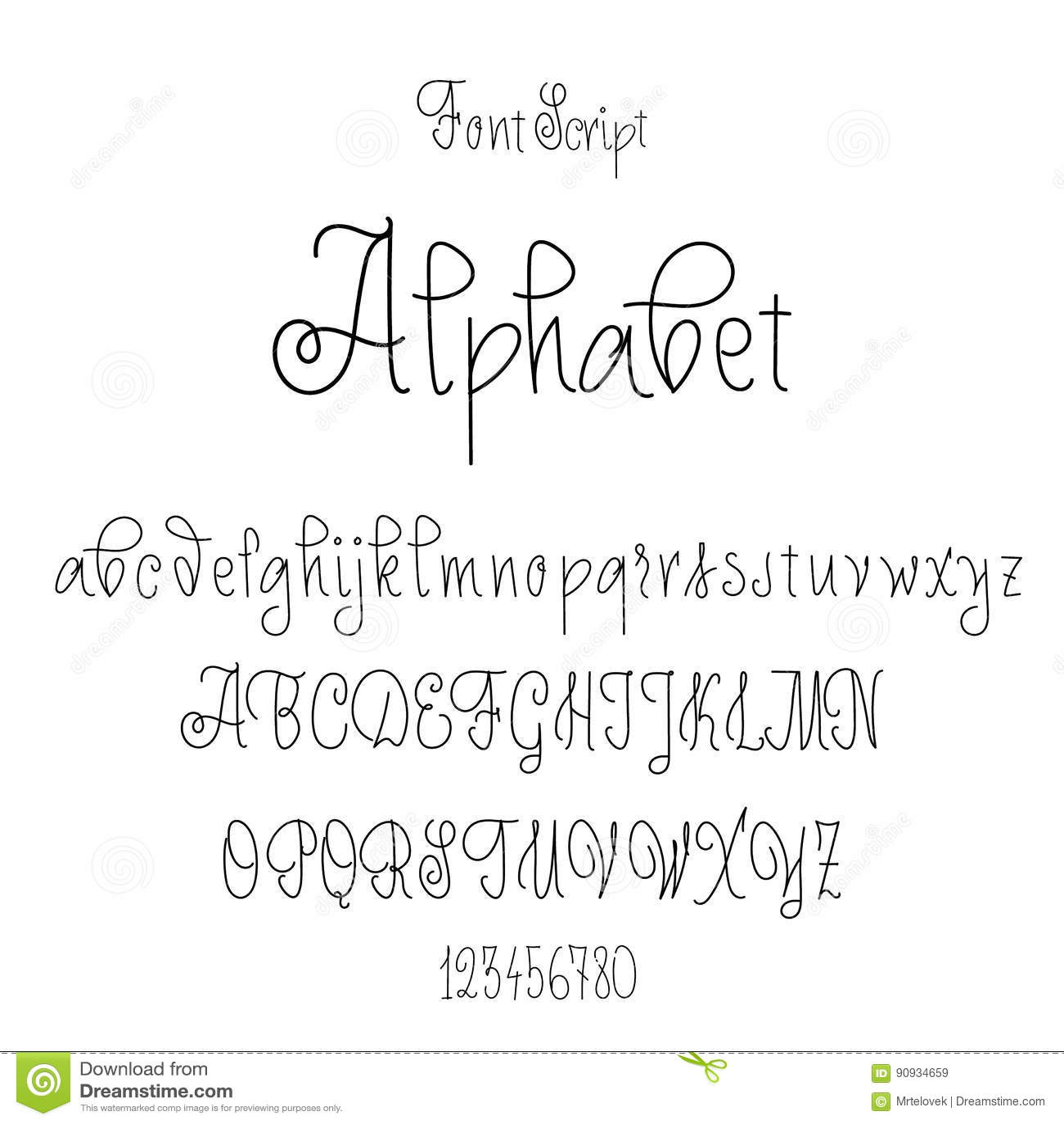 Font Drawn On The Basis Of Handwriting Calligraphy, Modern Cursive