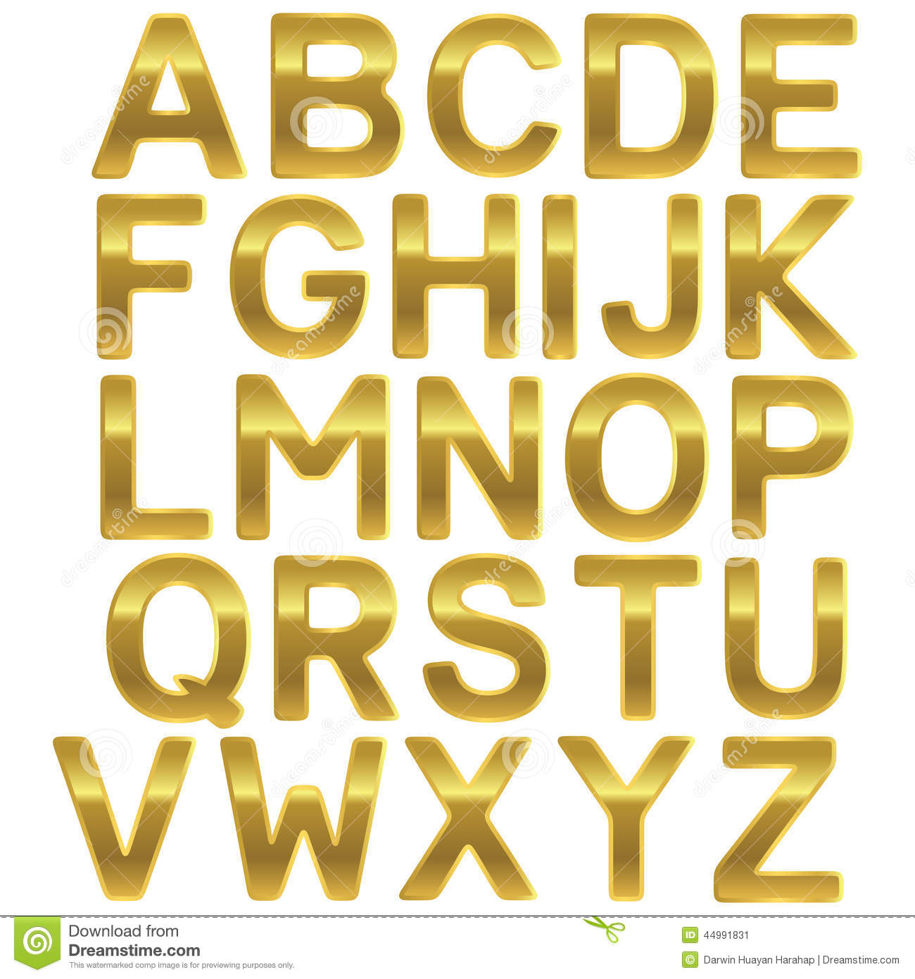 Font Gold Uppercase Alphabet Stock Vector Illustration of