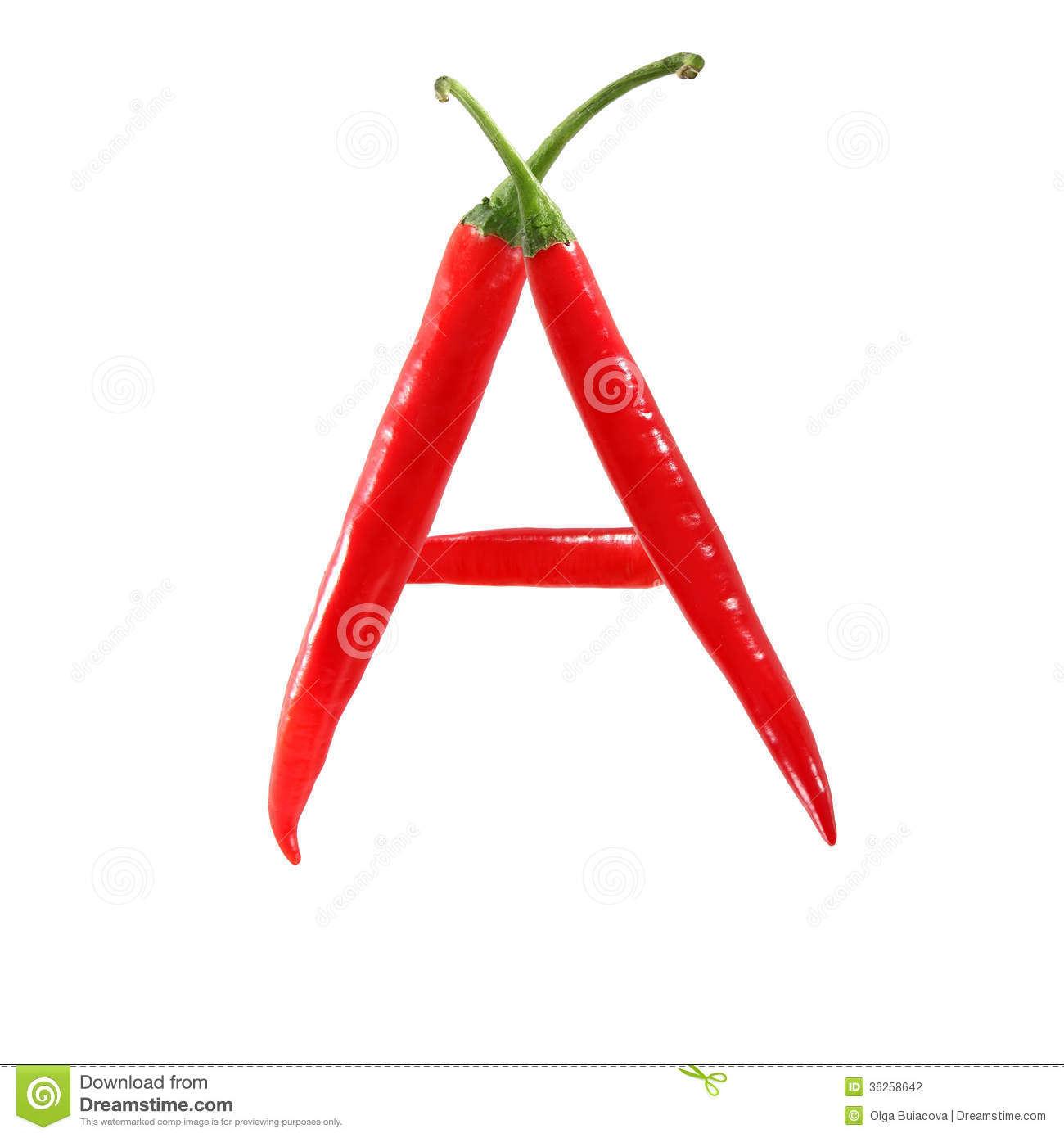 Font Made Of Hot Red Chili Pepper Isolated On White - Letter