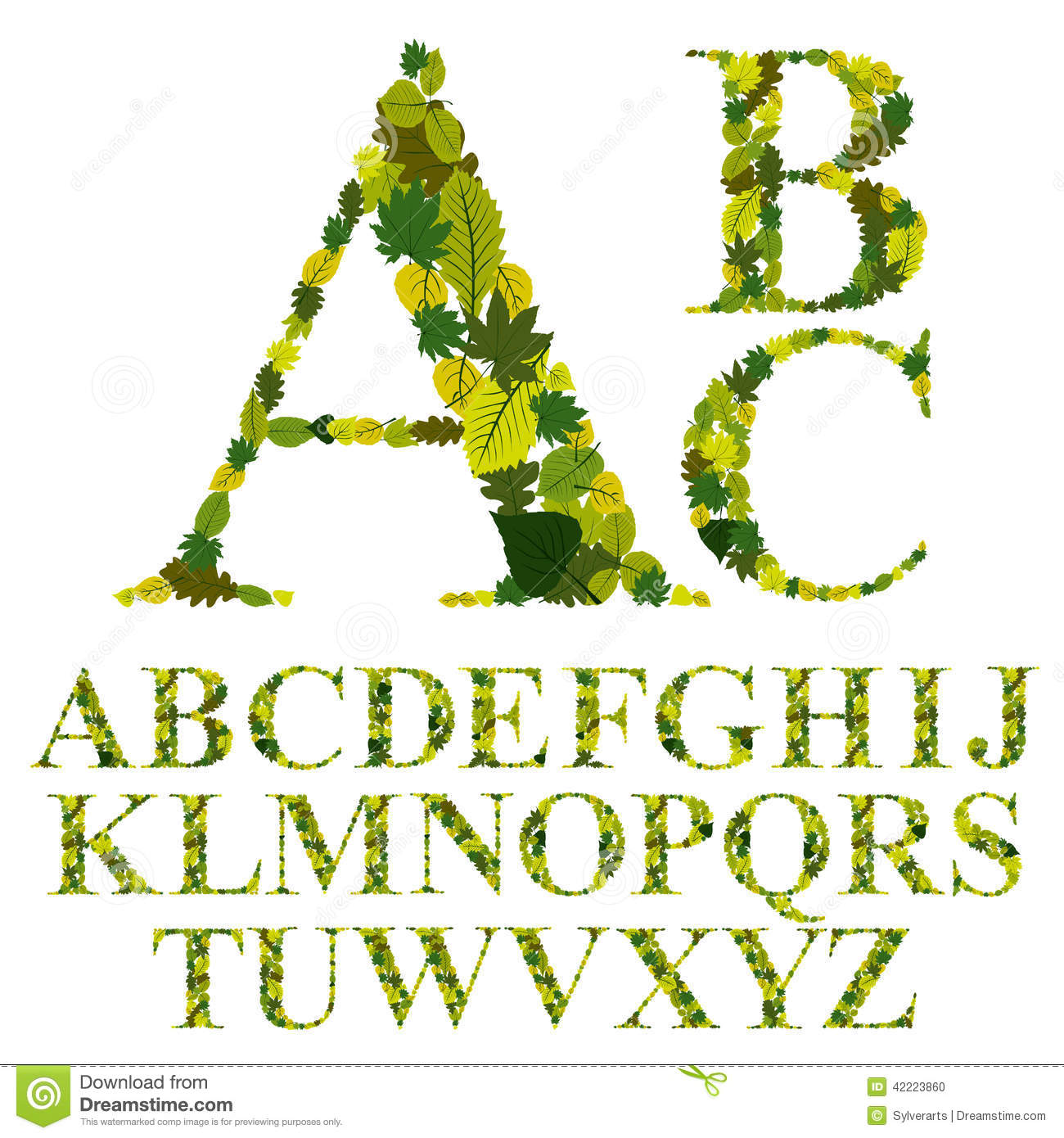 Font Made With Leaves Floral Alphabet Letters Set Vector Desig Stock Vector