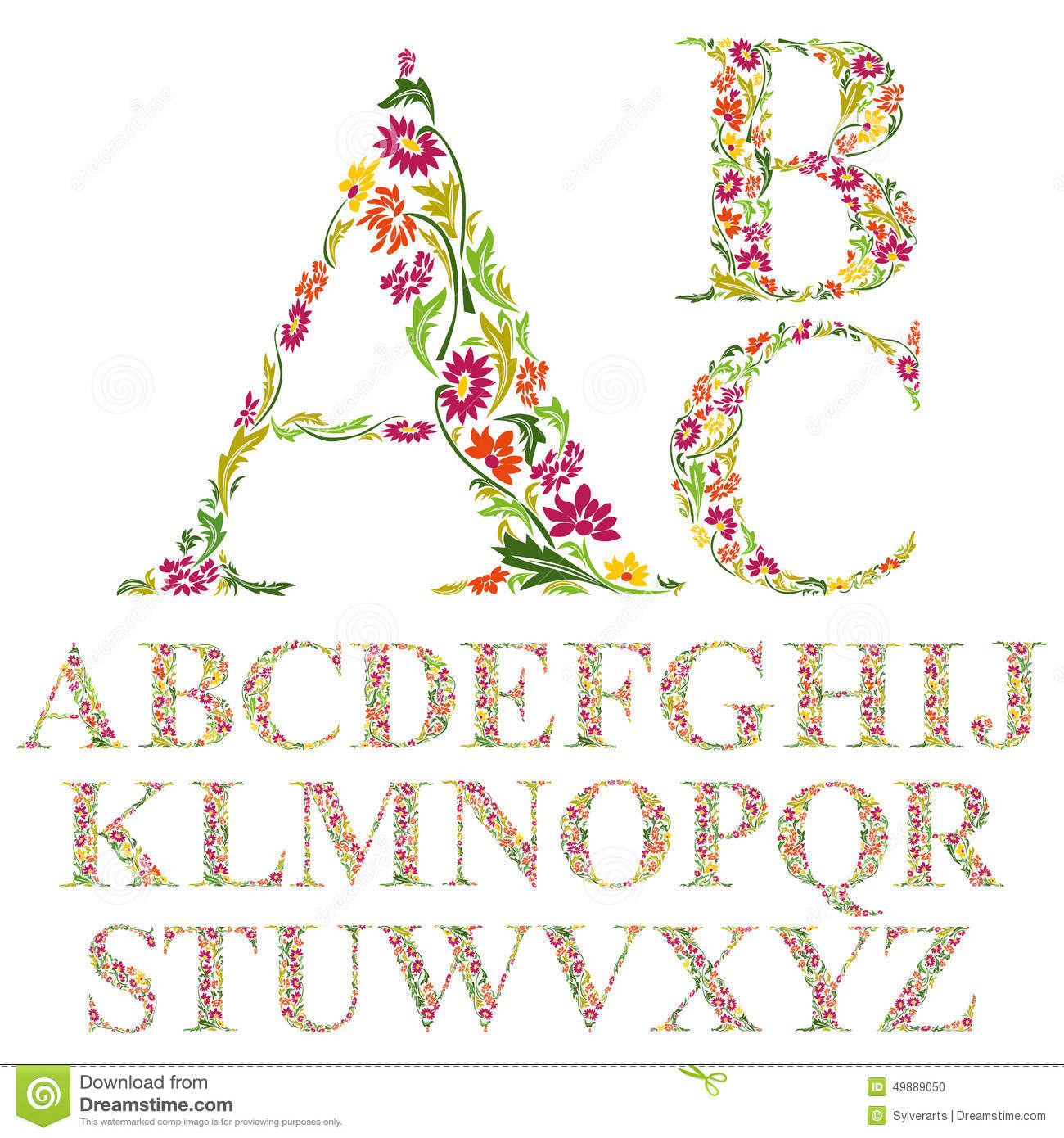 Font Made With Leaves Floral Alphabet Letters Set Stock Vector Image 4988
