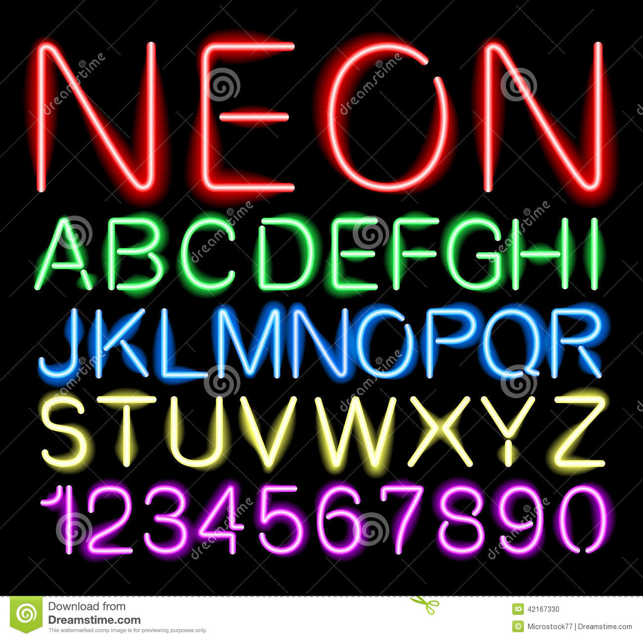 Font Neon Light Stock Vector Illustration Of Element