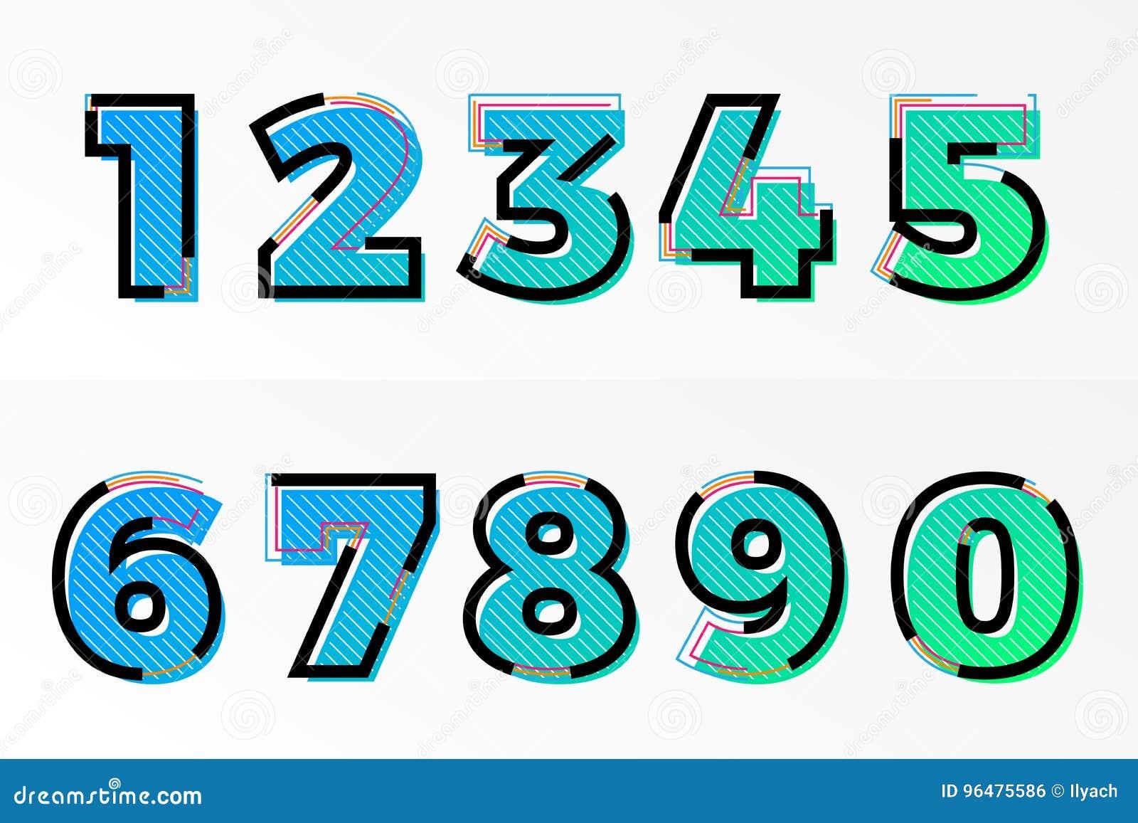 Font Numbers Set Numeral Letters Vector Memphis Gradient Color Line ...
