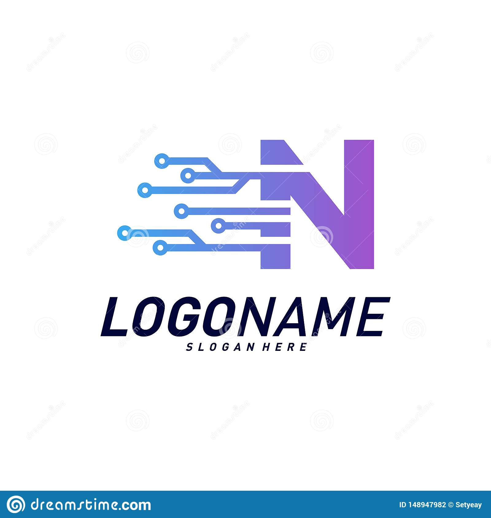 Font With Technology Logo Design Concepts Technology Letter N Logo Icon Vector Template Icon Symbol Stock Vector Illustration Of Design Graphic 148947982
