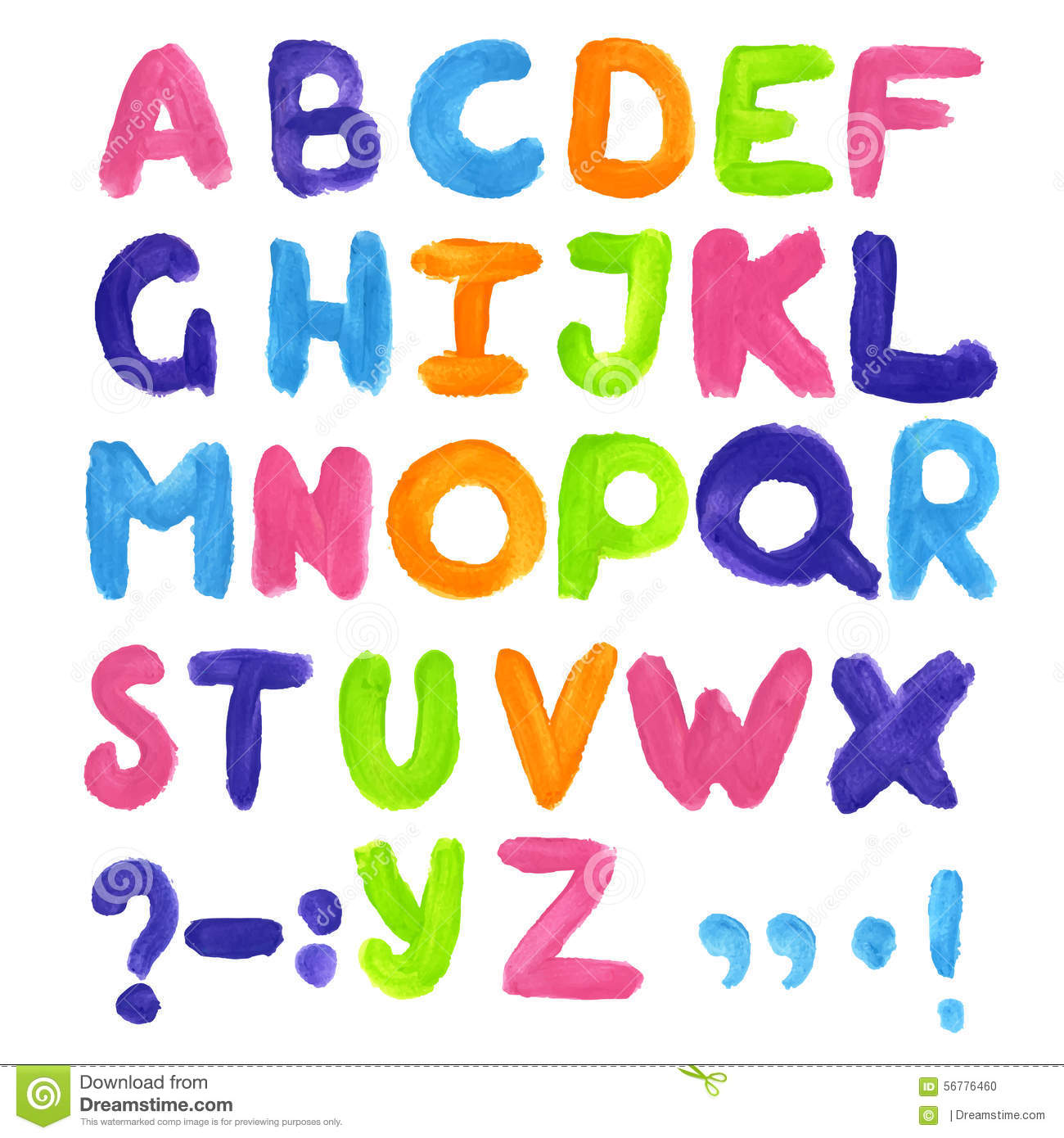 watercolor letters colorful alphabet abc