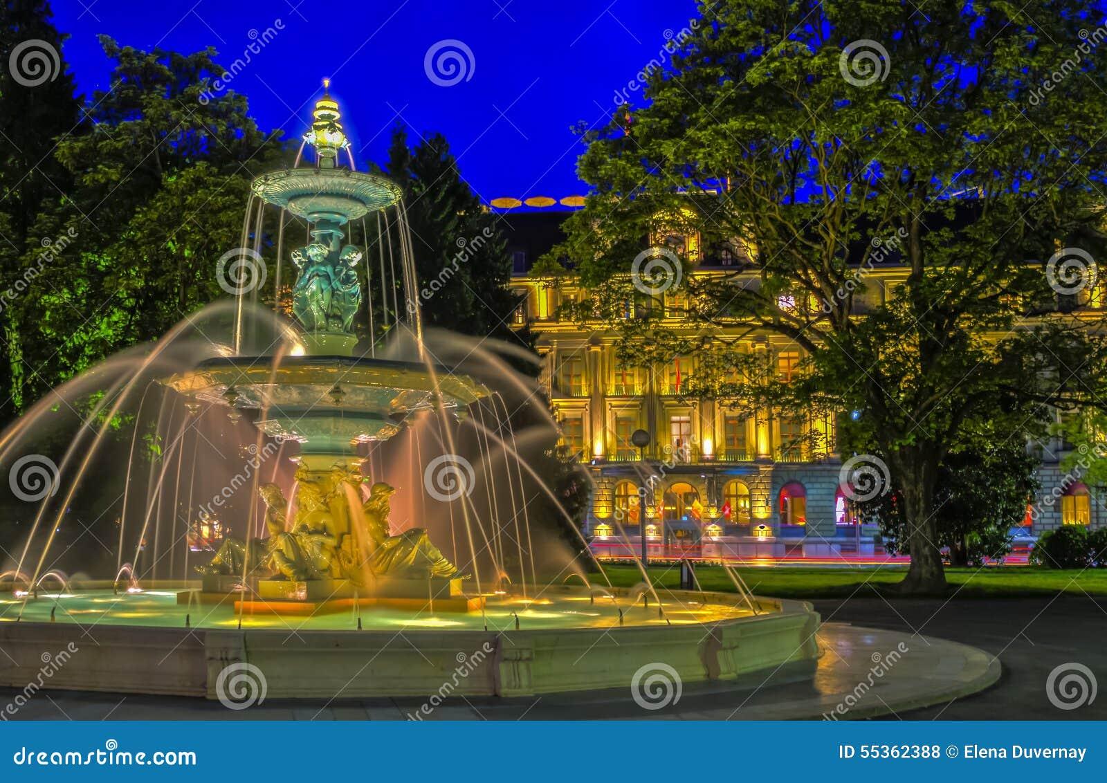 Fontaine au jardin anglais gen ve photo stock image for Jardin anglais geneve suisse