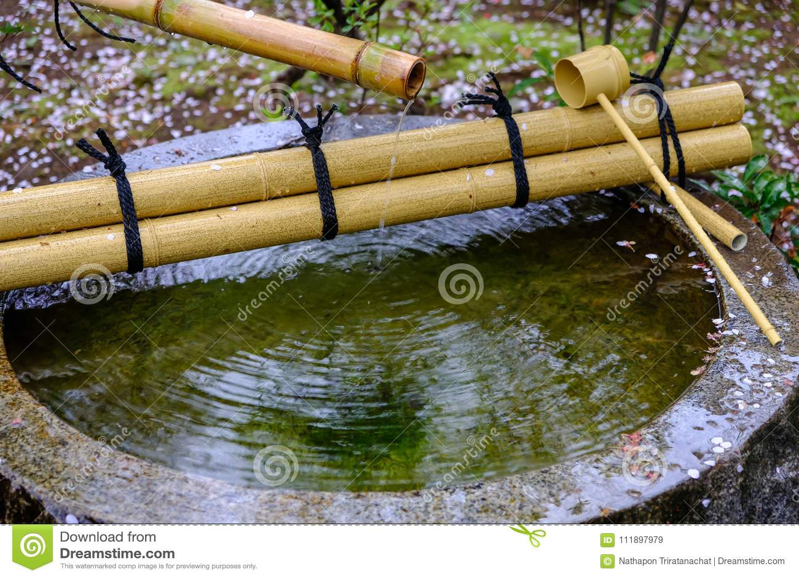 Fontaine D\'eau De Tsukubai Dans Le Jardin Japonais à Kita ...