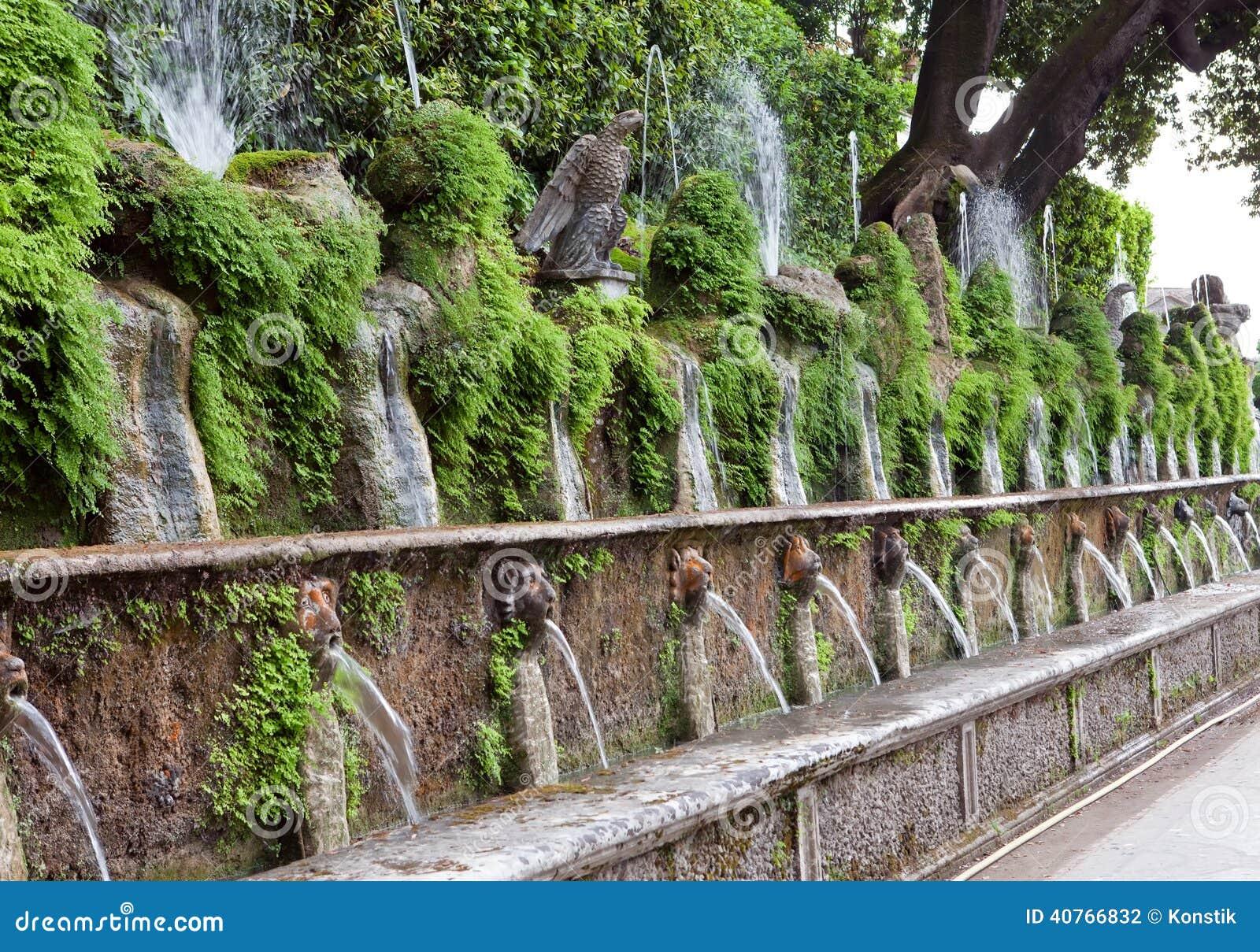 Fontaine d 39 este de de la villa d et jardin tivoli for Jardin italien