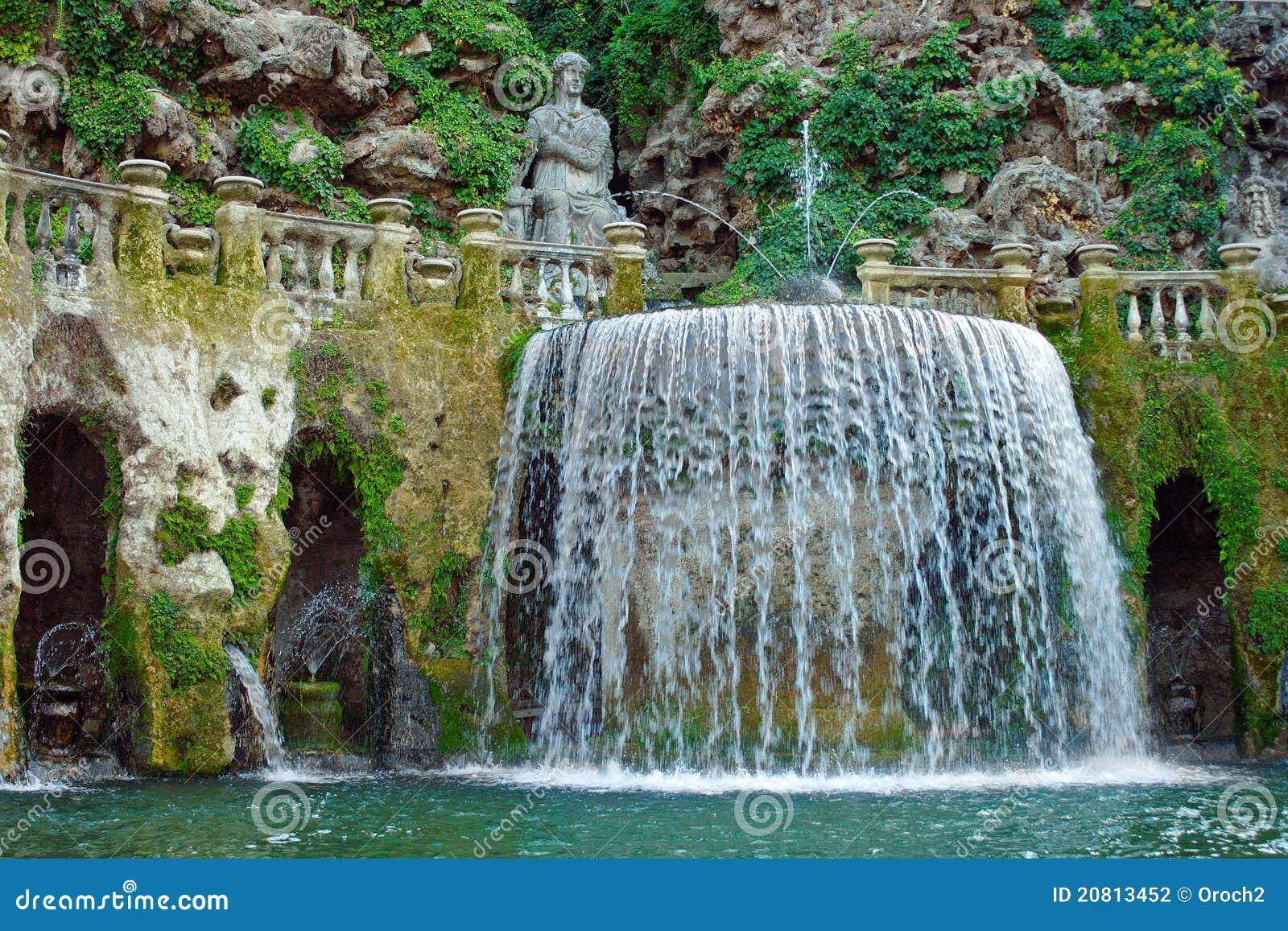 fontaine dans le jardin du d 39 este de villa photo stock image du centrales grottoes 20813452. Black Bedroom Furniture Sets. Home Design Ideas