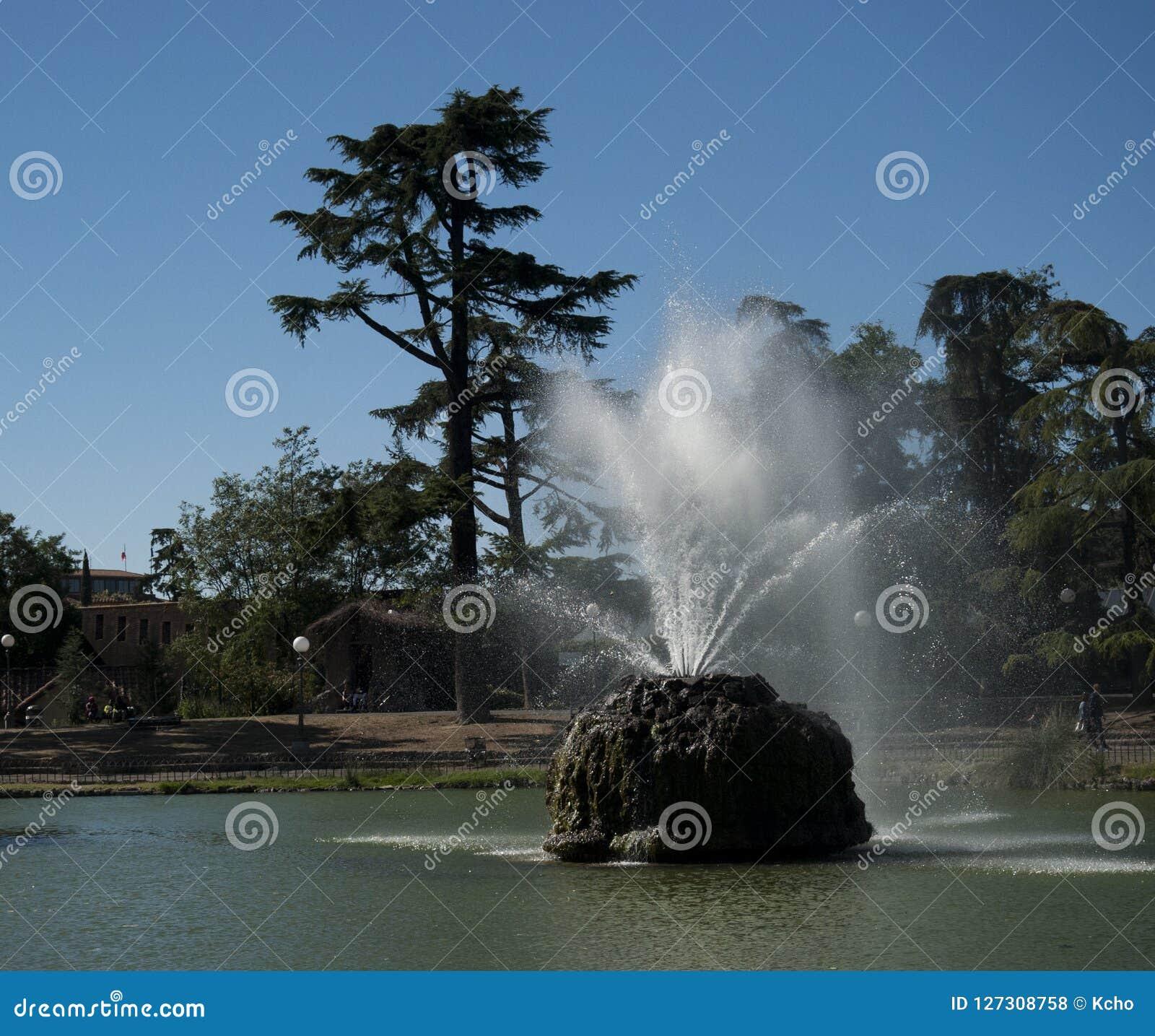 Fontaine dans le lac sur le parc