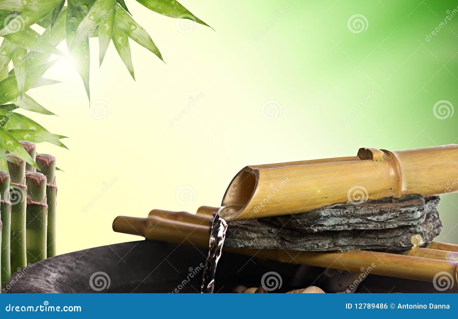 Fontaine de bambou de zen image libre de droits image for Fontaine interieur bambou