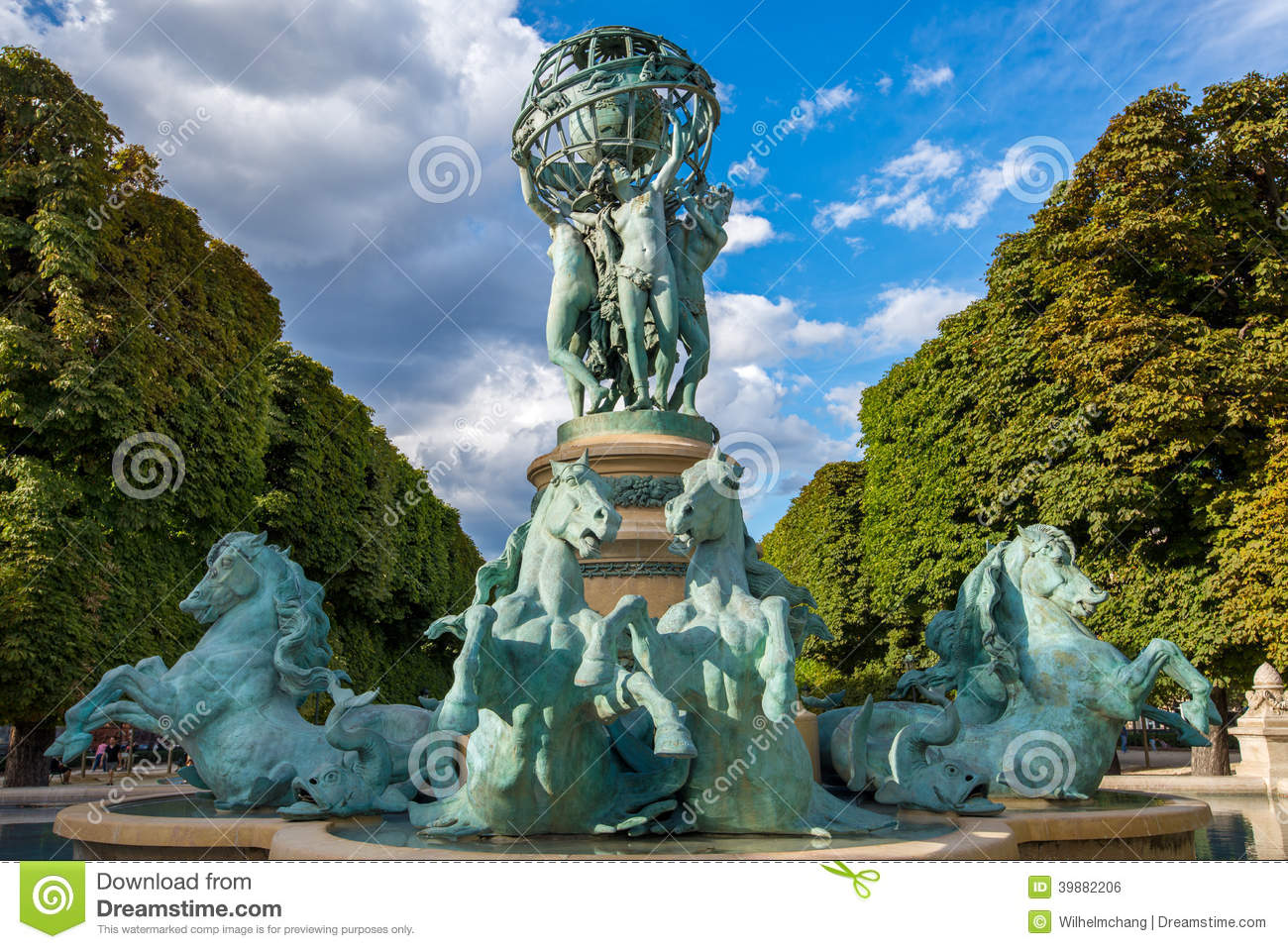 Fontaine de lobservatoire in luxembourg gardens stock photo image 39882206 - Fontaine jardin du luxembourg ...