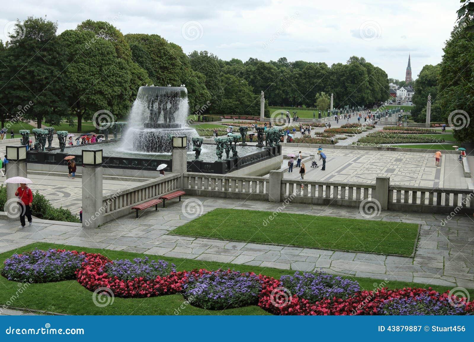 Fontaine De Parc De Frogner Et Paysage, Oslo, Norvège Photographie ...