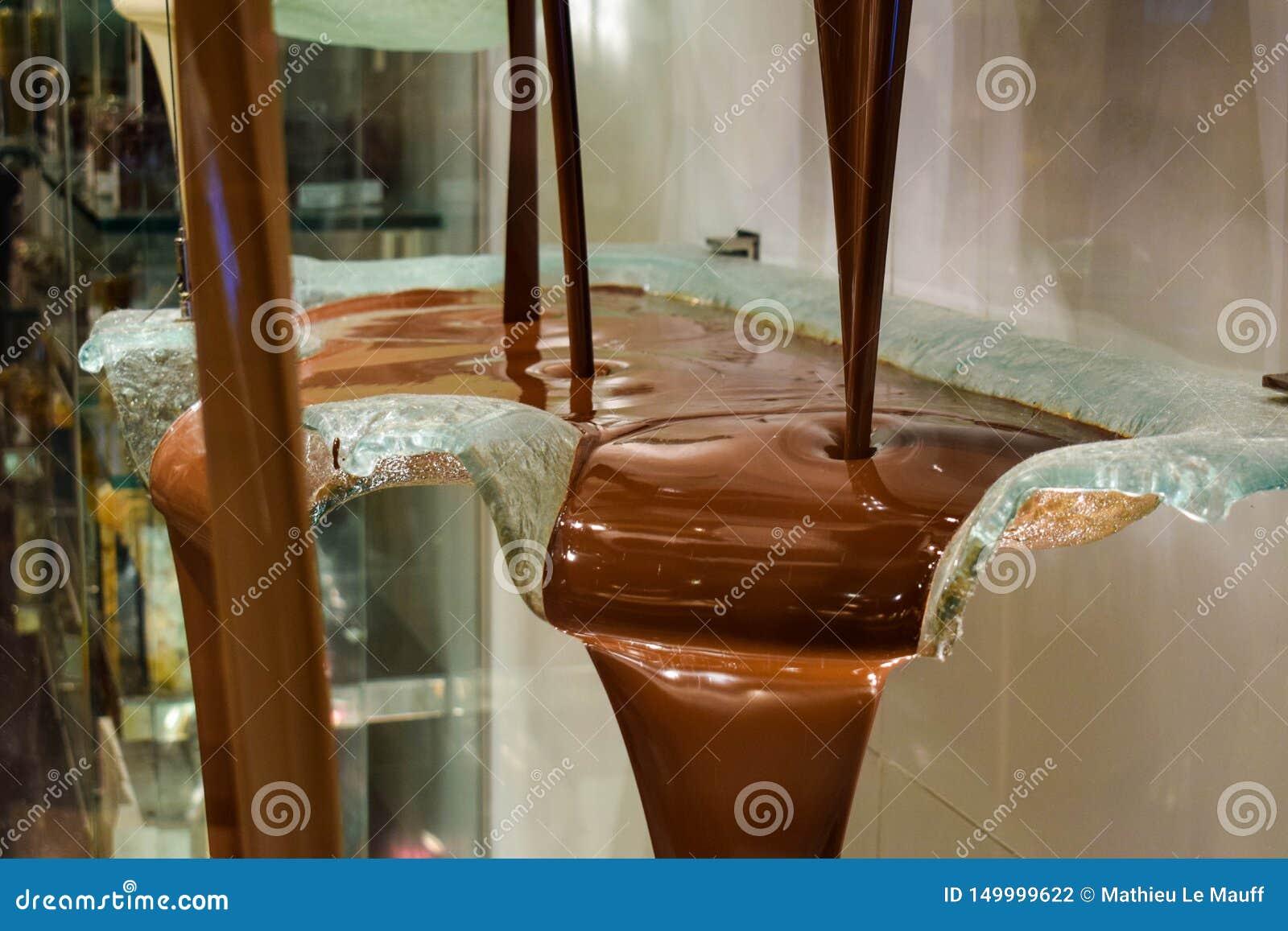 Fontaine en gros plan de chocolat au casino de luxe de Bellagio et station de vacances à Las Vegas