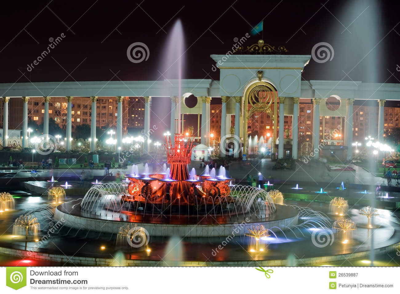 Fontaine en stationnement national d Almaty