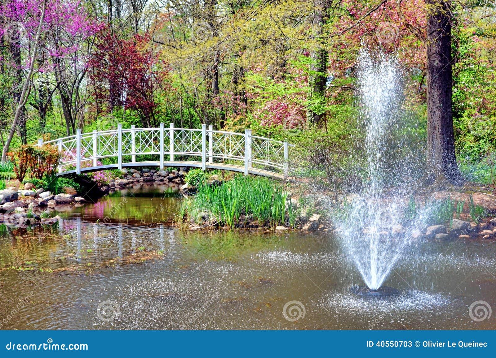 Fontaine et pont de jardin botanique de parc de sayen for Jardin et parc 78