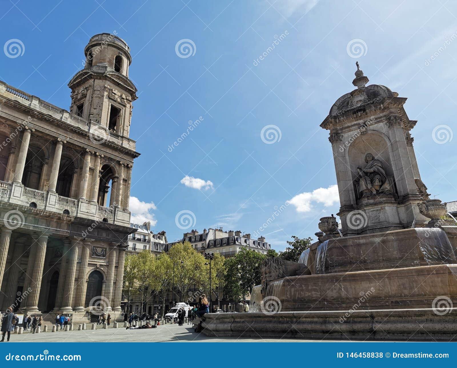 Fontaine heilige-Sulpice en à ‰ glise heilige-Sulpice Kerk, Parijs