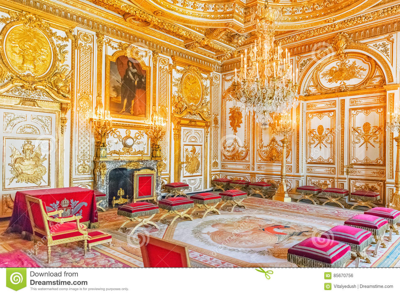 Fontainebleau Palace Interiors. The Throne Room. Chateau Was On