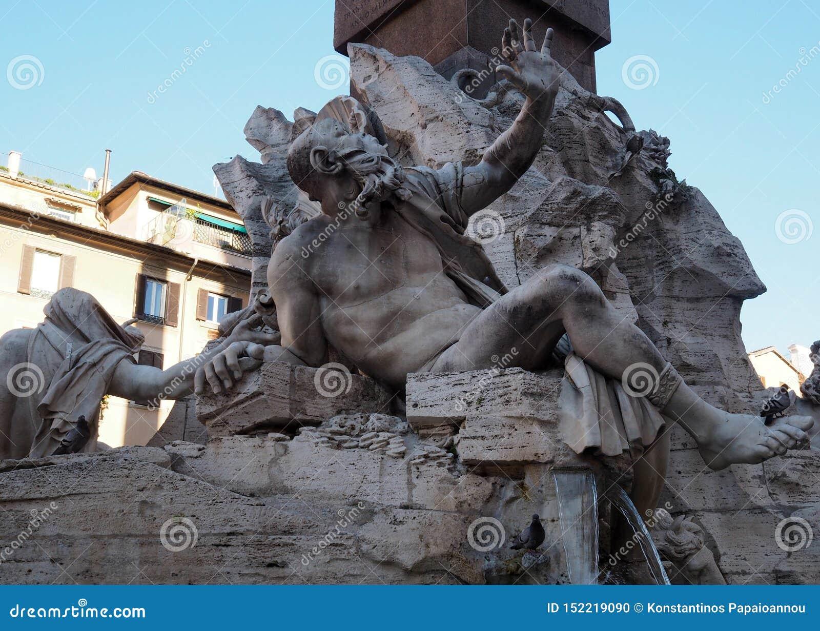 Fontana-dei Quattro Fiumi in Navona-Quadrat in Rom, Italien