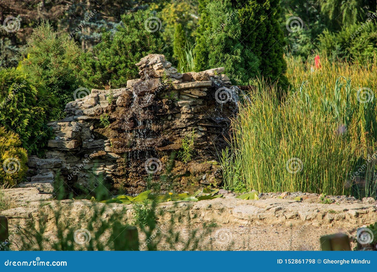 Fontana negli scorrimenti dell acqua del parco attraverso le pietre