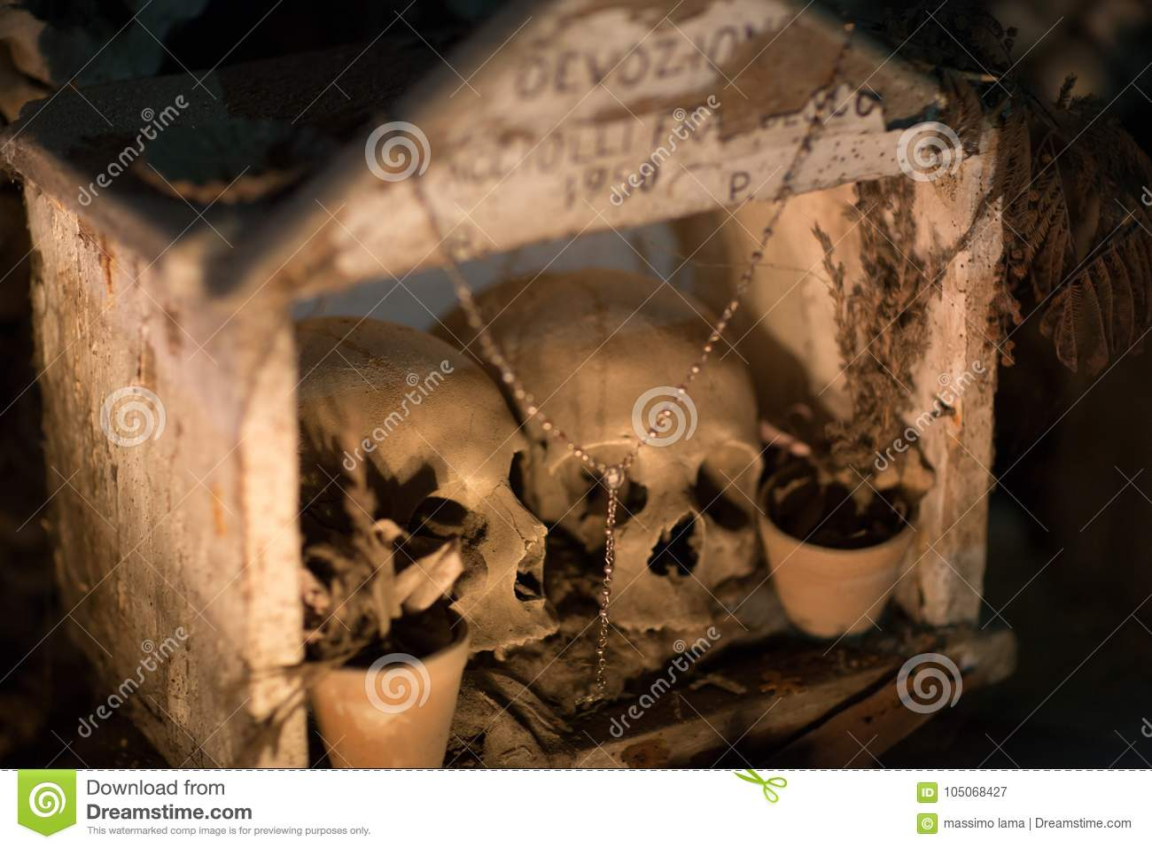 Fontanel Cemetery In Naples Italy Stock Image Image Of Catacombs