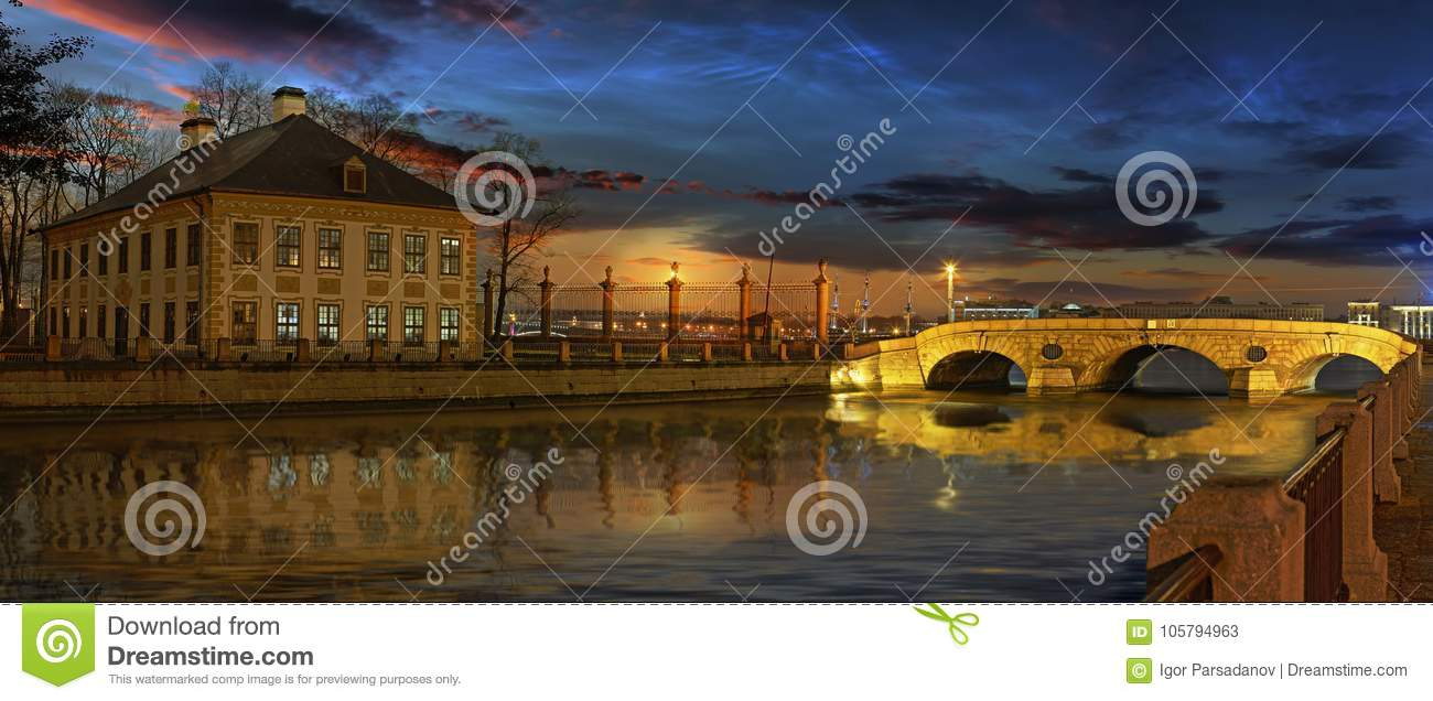 The Fontanka river and the summer Palace of Peter the great in S