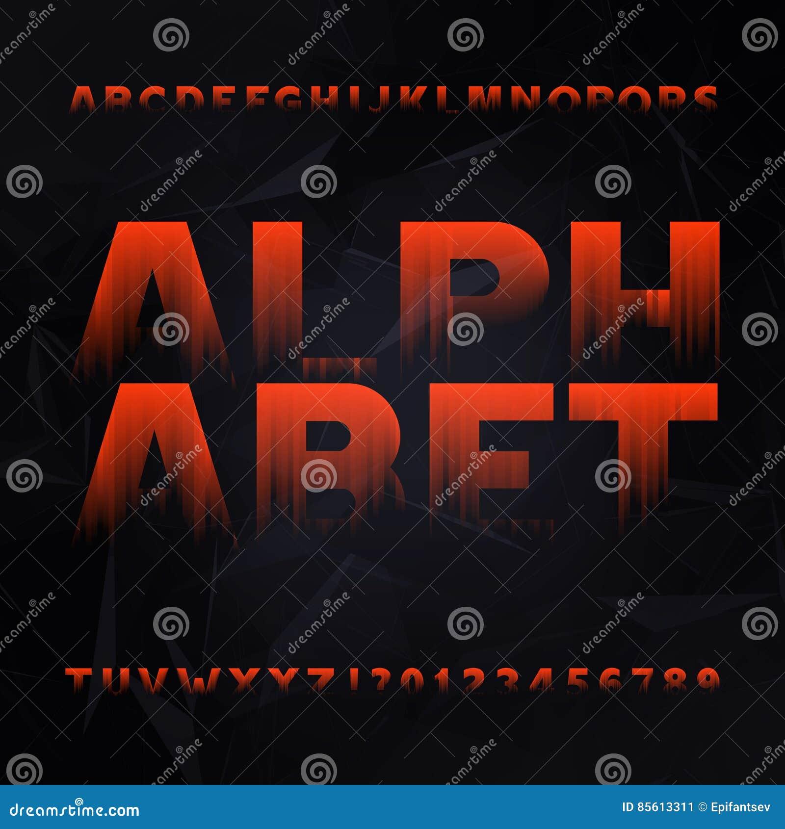 b338d44cb Fonte abstrata do alfabeto Datilografe letras e números em um fundo  poligonal escuro Caráter tipo do vetor para seu projeto
