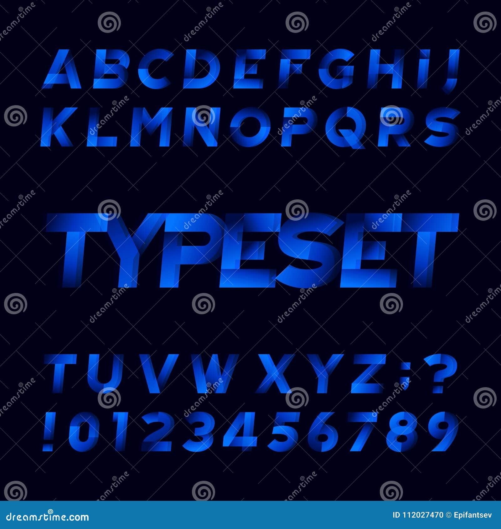 ec2ee0233 Fonte abstrata do alfabeto Tipo oblíquo letras e números Fundo preto  Caráter tipo conservado em estoque do vetor para seu projeto