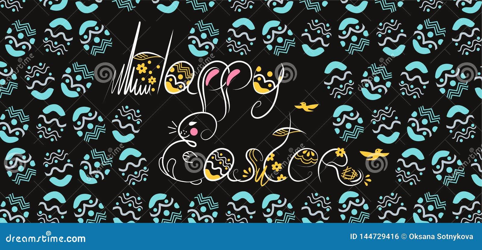 Fonte bianca disegnata a mano della composizione decorativa in Pasqua su fondo nero Scarabocchio divertente dal coniglietto, uova