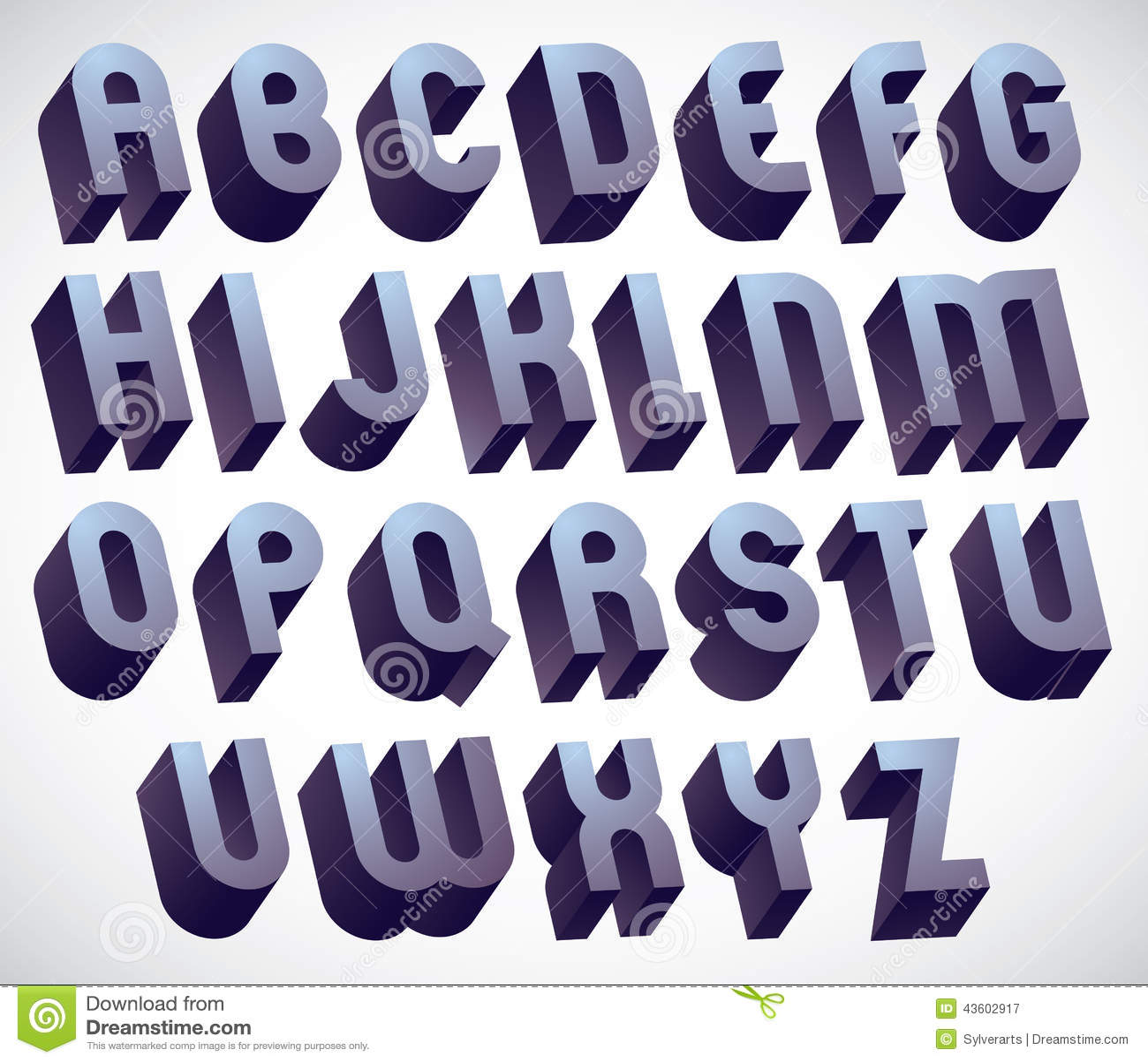 Fonte corajosa e grande de 3d, alfabeto dimensional monocromático feito com