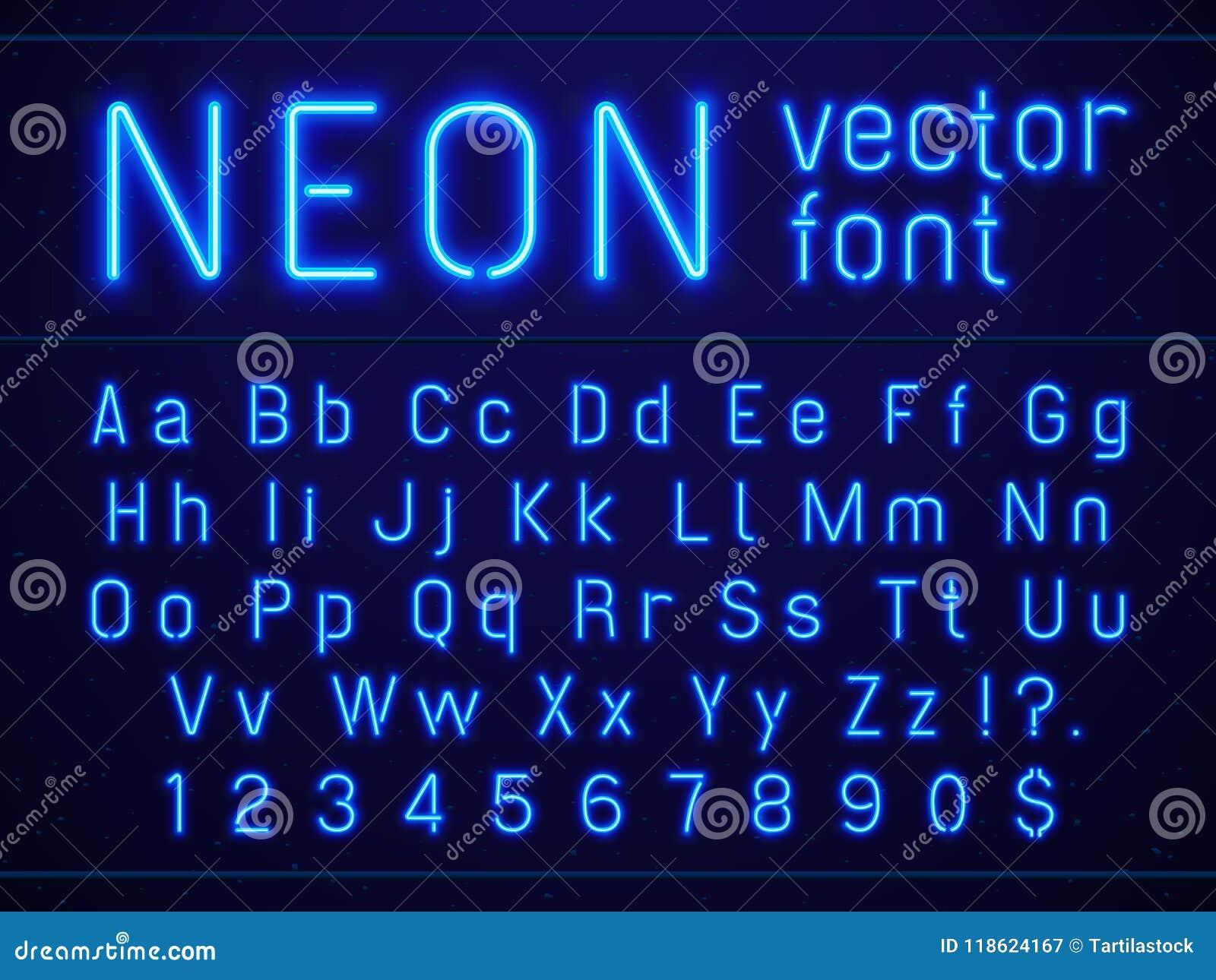 Fonte de néon azul de incandescência brilhante das letras e dos números do alfabeto Entretenimentos da vida noturno, barras moder