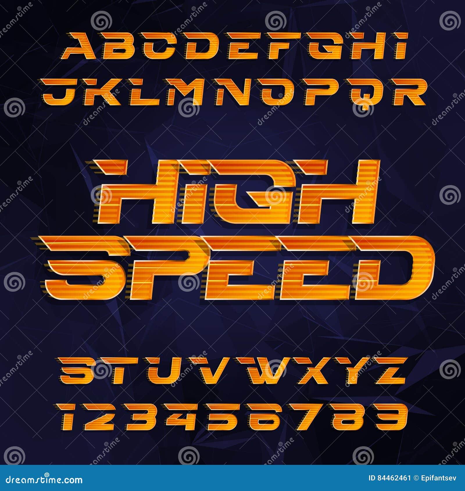 715a6e2b2 Fonte de vetor futurista do alfabeto Tipo de alta velocidade letras e  números do efeito em