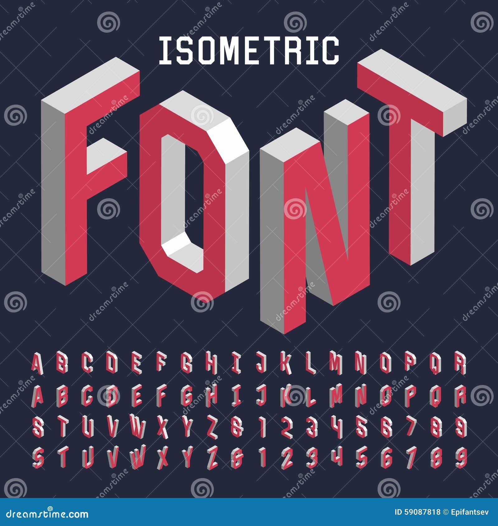 Fonte de vetor isométrica do alfabeto 3d