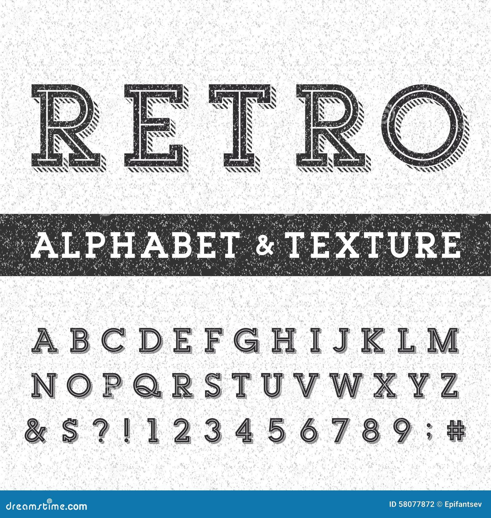 Fonte de vetor retro do alfabeto com textura afligida da folha de prova