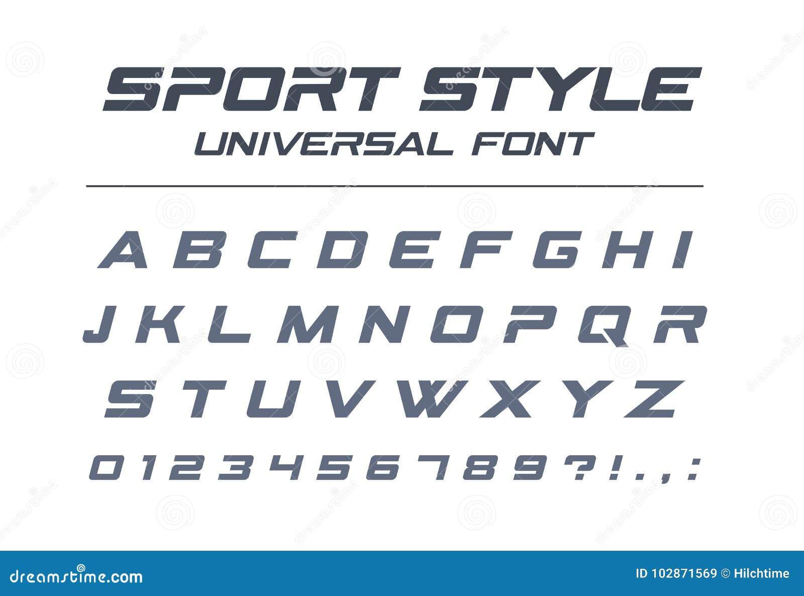 Fonte dell universale di stile di sport Velocità veloce, futuristica, tecnologia, alfabeto futuro