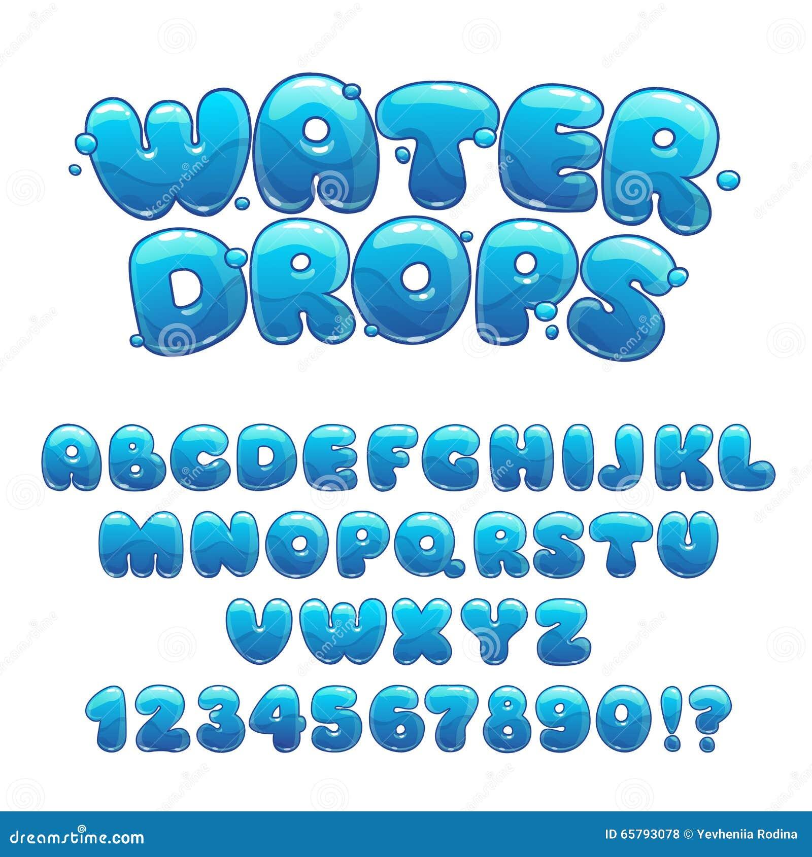 Fonte delle gocce di acqua del fumetto