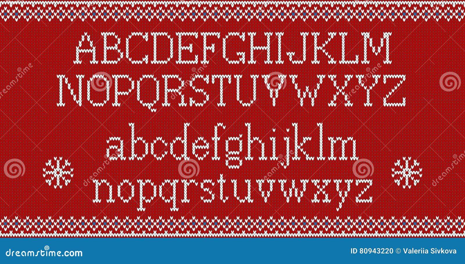 Natale In Latino.Fonte Di Natale Alfabeto Latino Tricottato Sul Modello