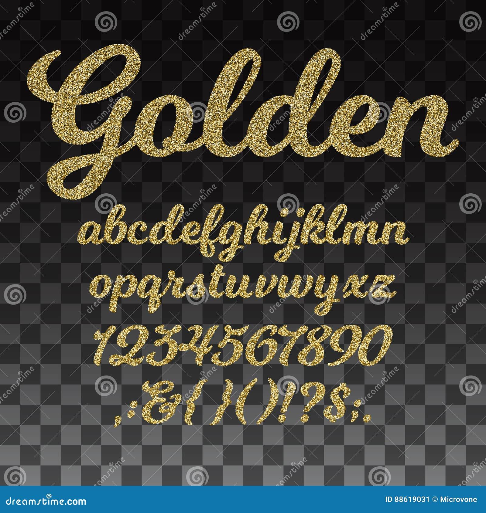 Fonte di vettore di scintillio dell oro, alfabeto dorato con le lettere minuscole, numeri e simboli