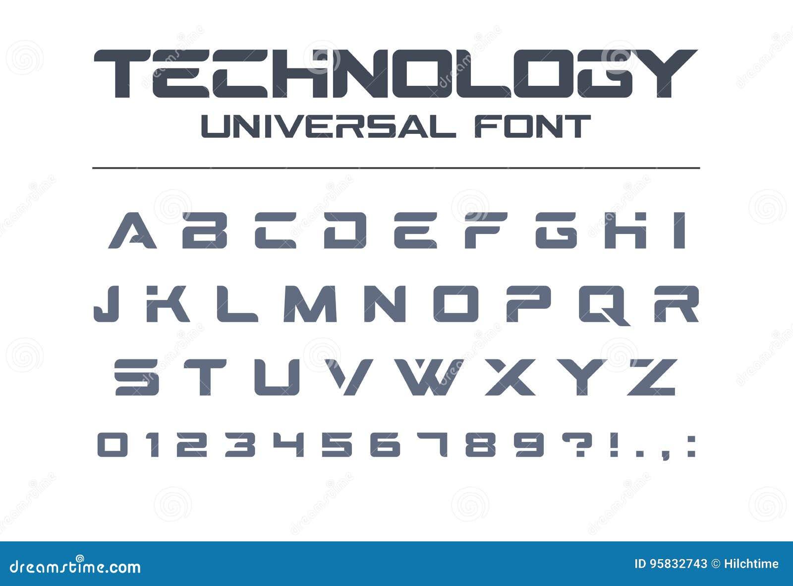 Fonte di vettore universale di tecnologia Geometrico, sport, alfabeto techno futuristico e futuro