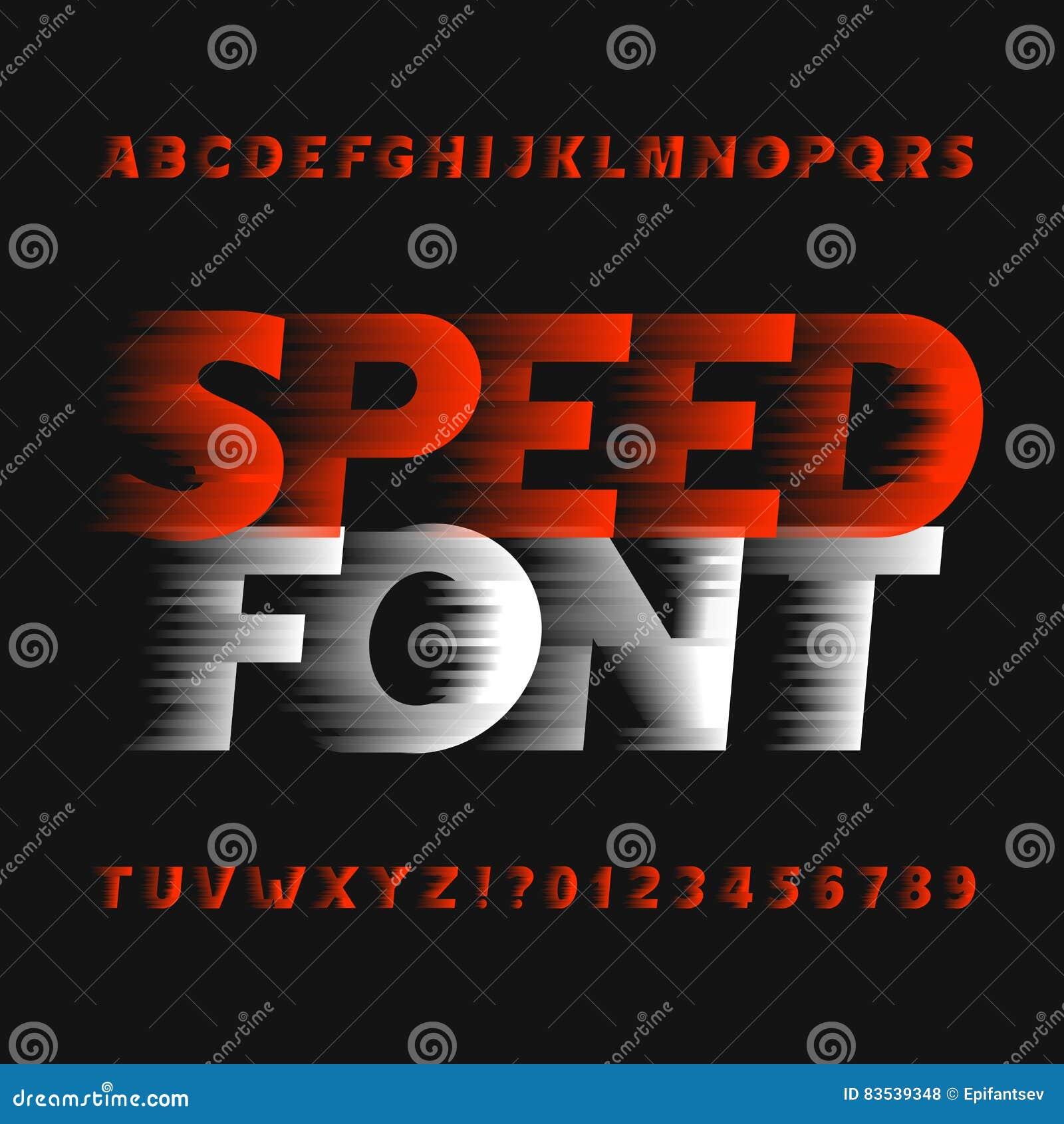 8df9956b3 Fonte do alfabeto da velocidade Tipo letras e números do efeito de vento em  um fundo escuro Caráter tipo do vetor para seu projeto
