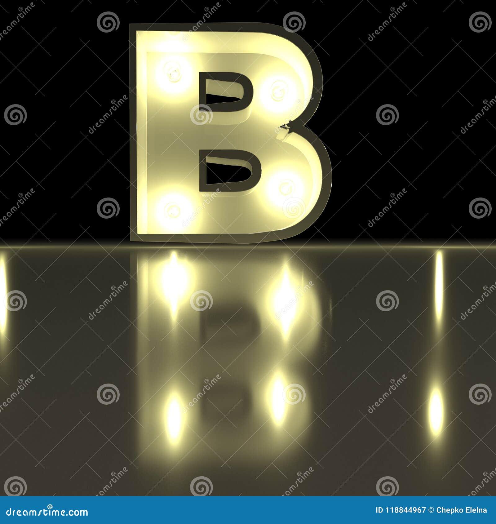 Fonte do caráter B com reflexão Alph de incandescência da letra da ampola