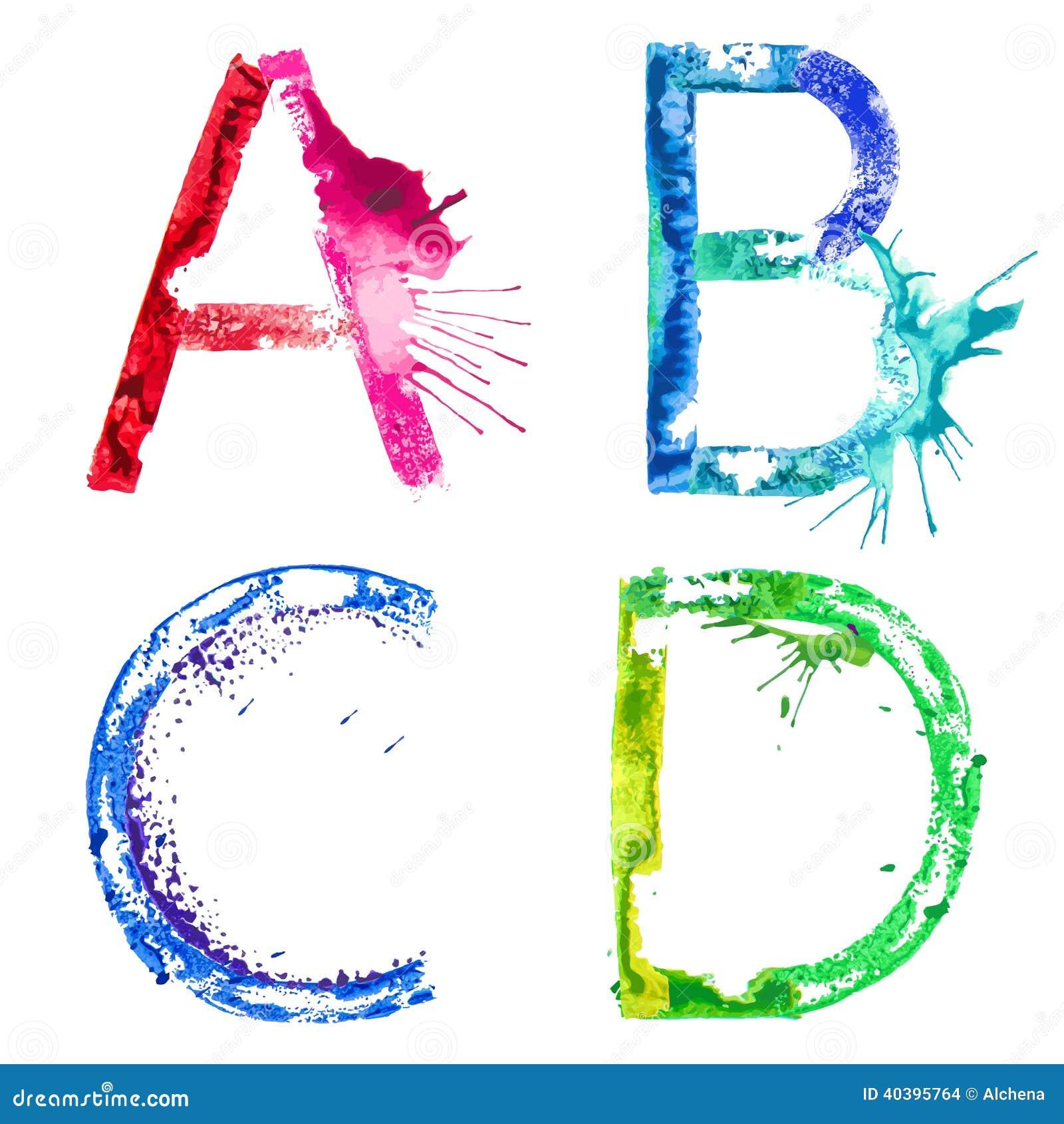 Fonte A do respingo da pintura do vetor, B, C, D