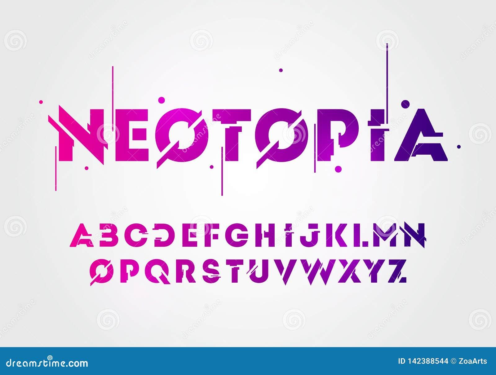 Fonte e alfabeto de néon da tecnologia do sumário da ilustração do vetor projetos do logotipo do efeito do techno Conceito digita