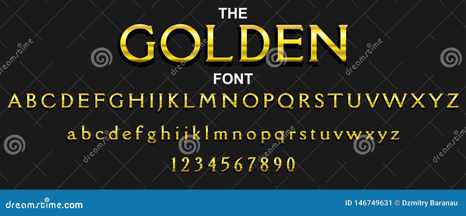 Fonte e alfabeto dourados com números Projeto de letra da tipografia do vetor