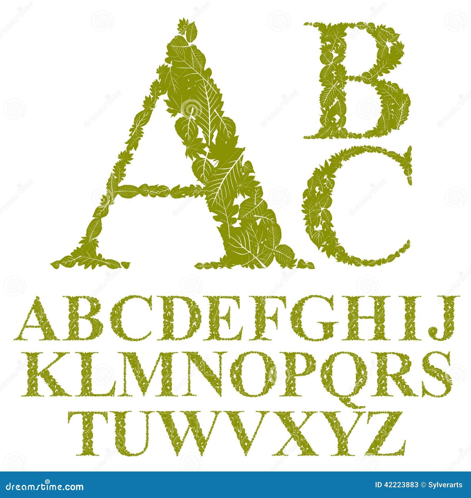 A fonte feita com folhas, letras florais do alfabeto ajustou, vector o desig