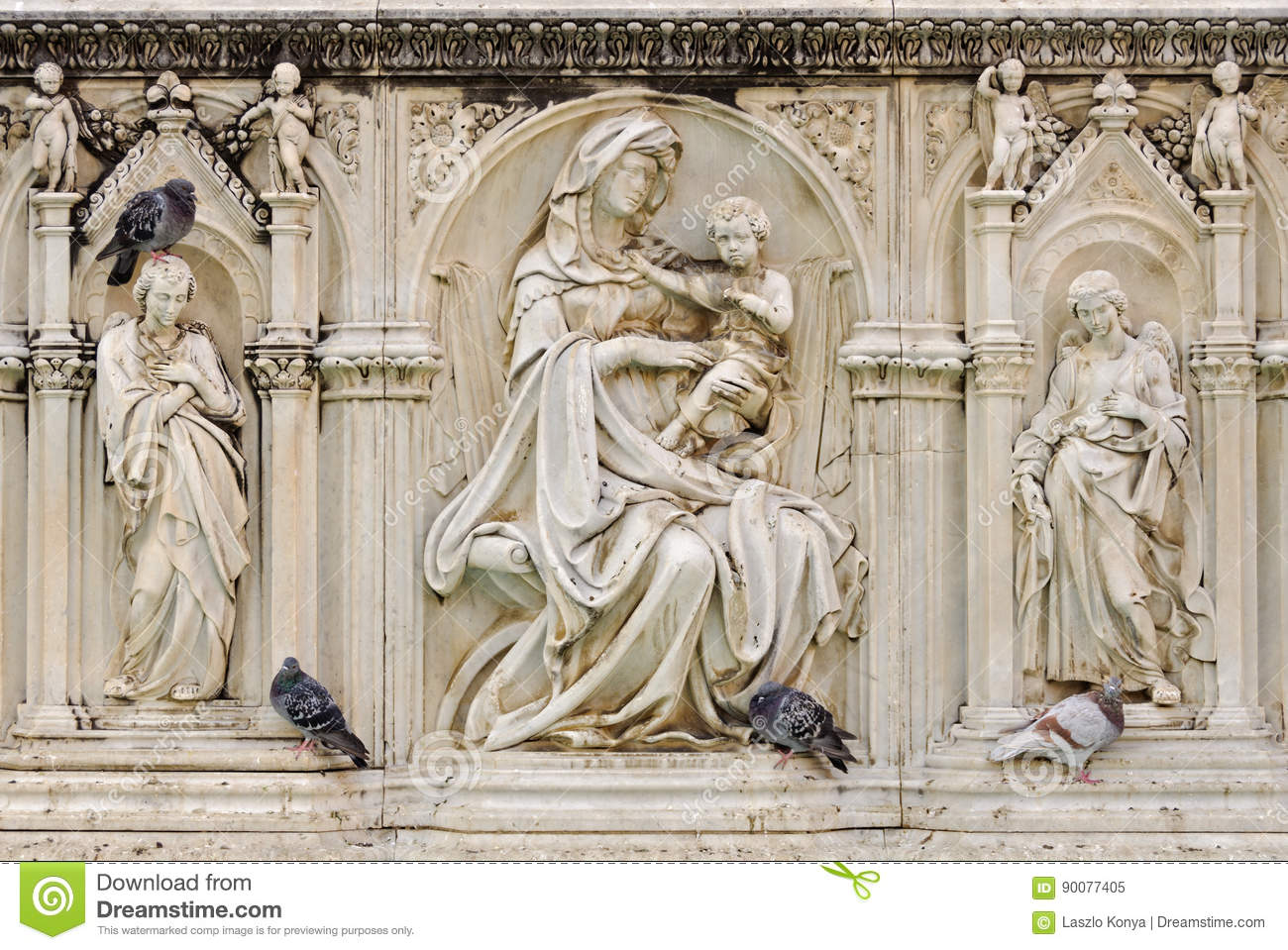 Ancient Gaia Statue fonte gaia, madonna and child - siena stock image - image of
