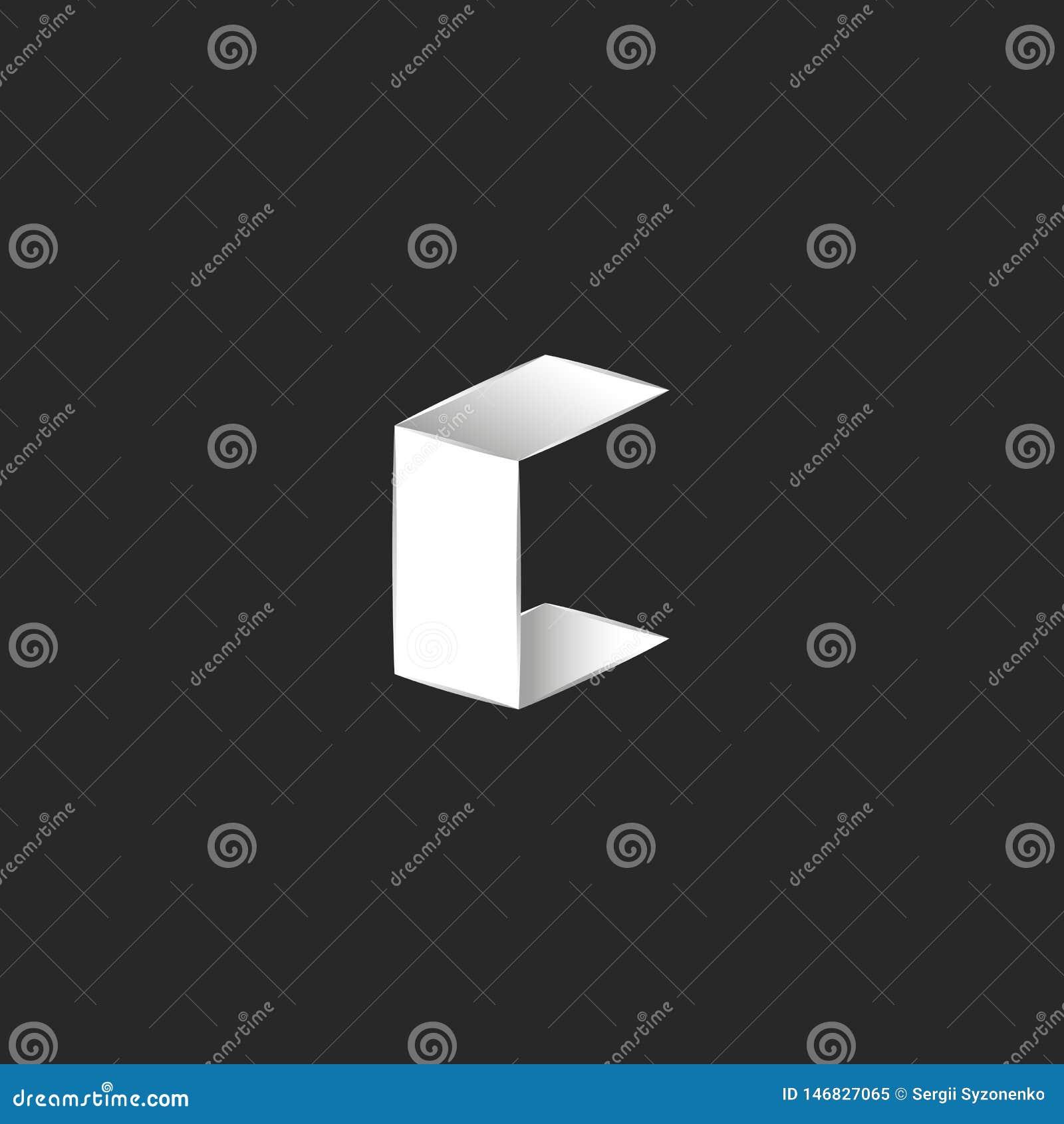 A fonte isométrica da forma da letra C do logotipo 3D, dobrou as folhas de papel lisas brancas, elemento do projeto da identidade