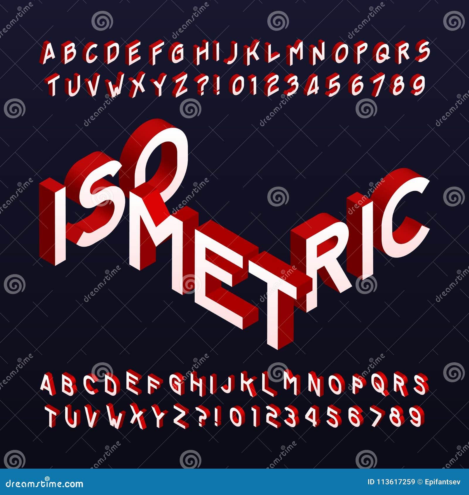 Fonte isométrica do alfabeto Letras e números tridimensionais do efeito